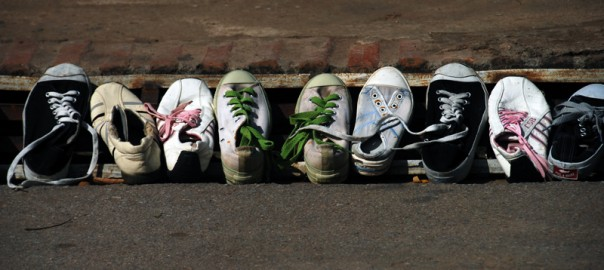 Shoes in a line
